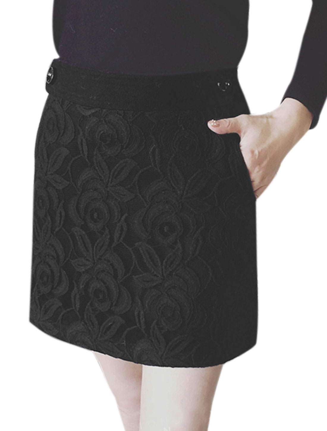 Women High Waist Floral Lace Worsted Straight Skirt Black M