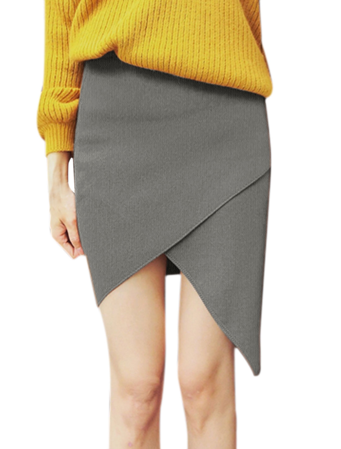 Women Elastic Waist Layered Asymmetric Hem Knitted Skirt Gray XS