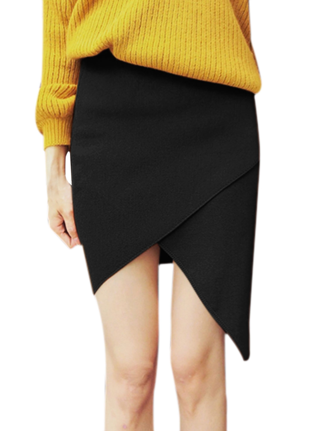 Women Elastic Waist Layered Asymmetric Hem Knitted Skirt Black XS