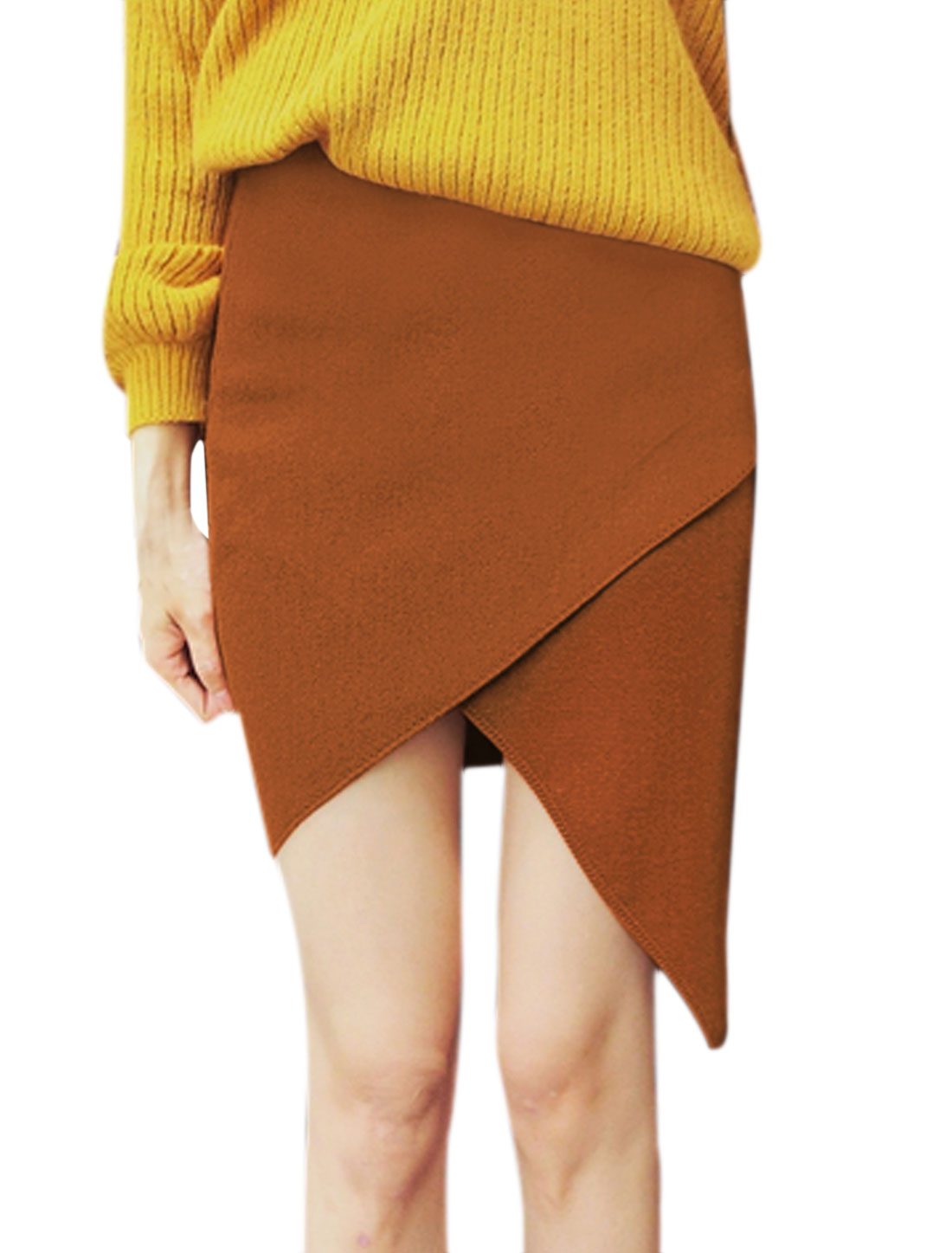 Women Elastic Waist Layered Asymmetric Hem Knitted Skirt Brown XS