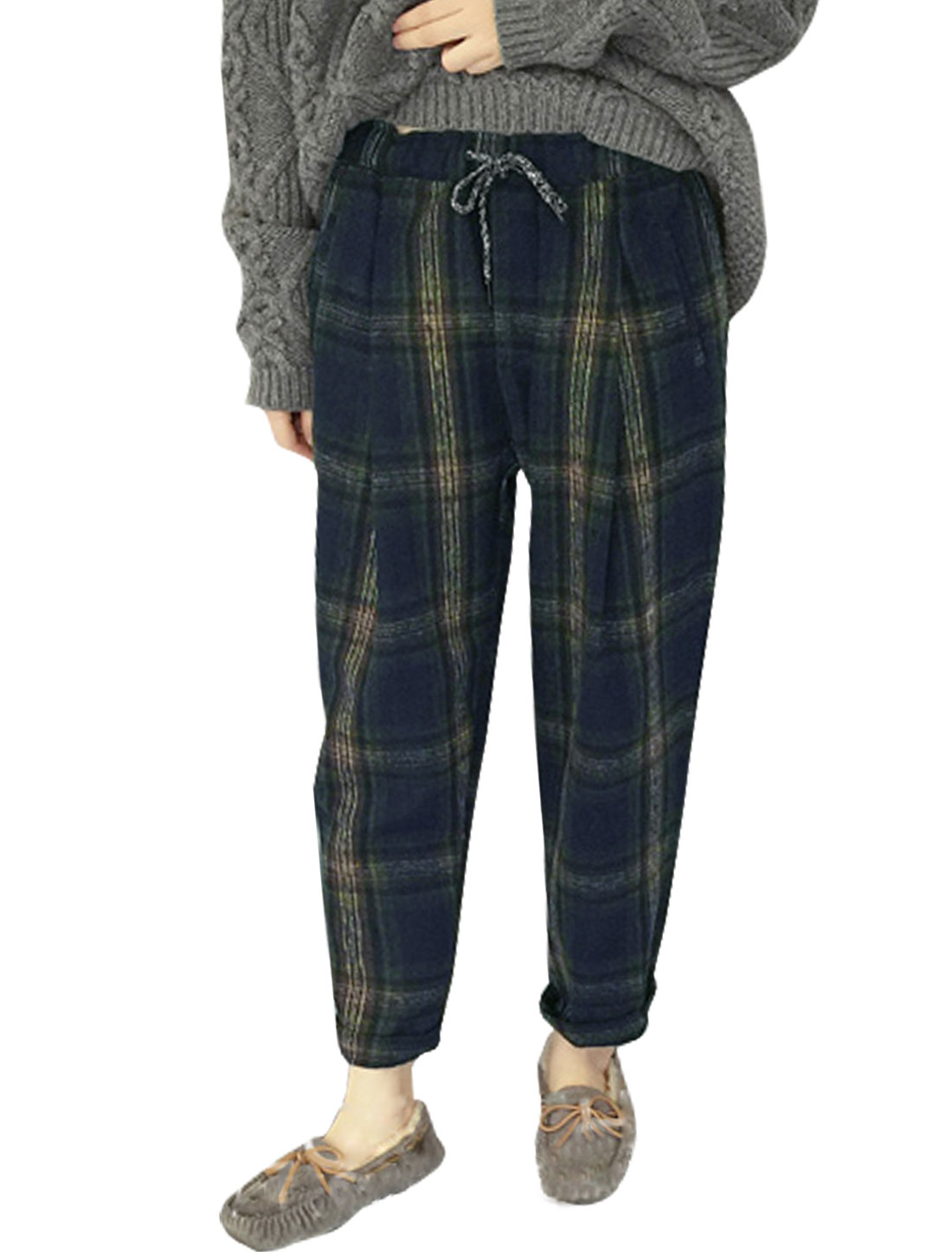 Women Drawstring Waist Slants Pockets Worsted Plaids Pants Blue XS
