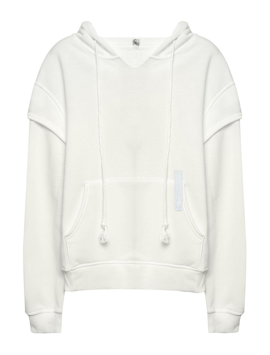 Women Kangaroo Pocket Embroidered Letters Drawstring Hoodie White XS