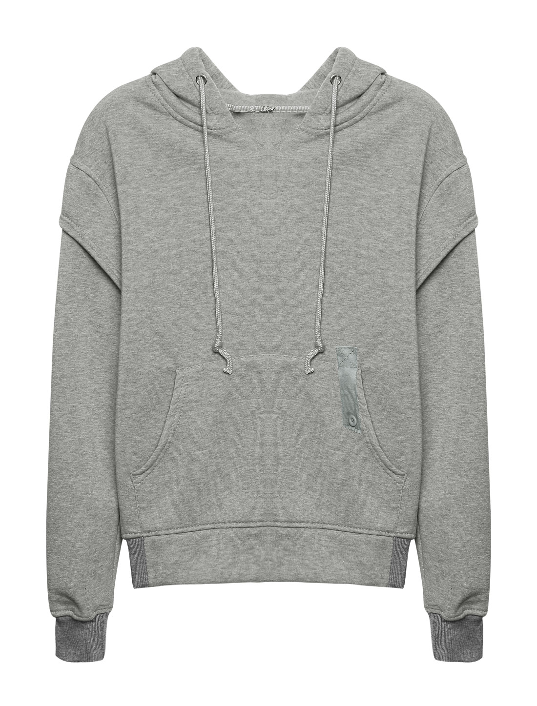 Women Kangaroo Pocket Embroidered Letters Drawstring Hoodie Gray XS