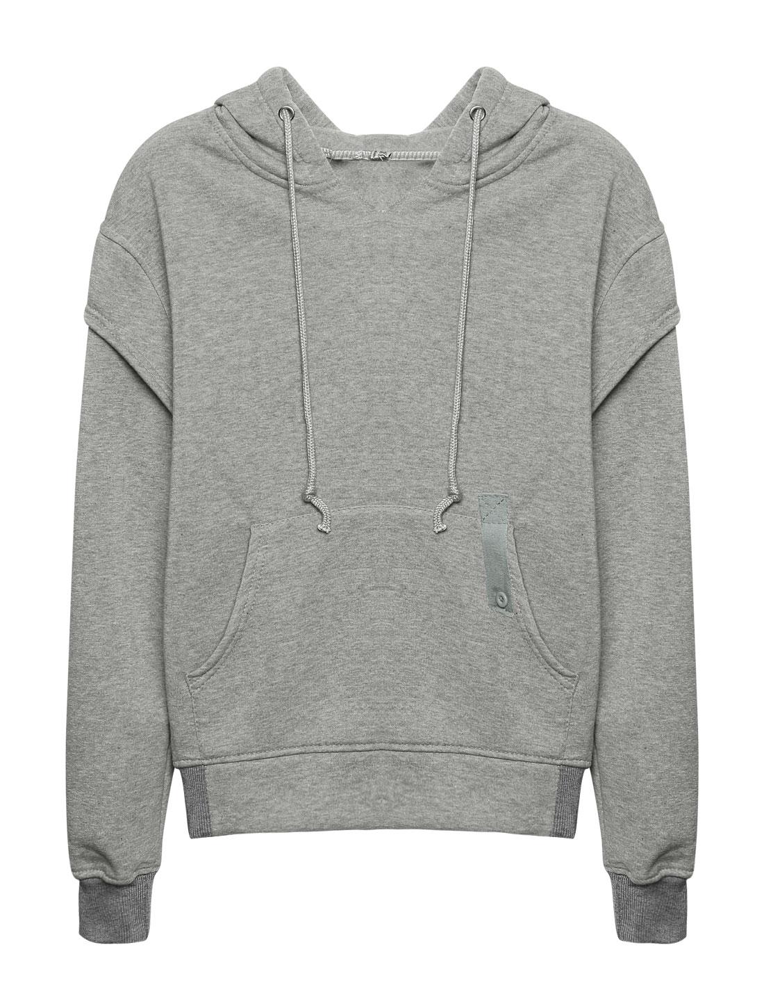 Women Kangaroo Pocket Embroidered Letters Drawstring Hoodie Gray XS