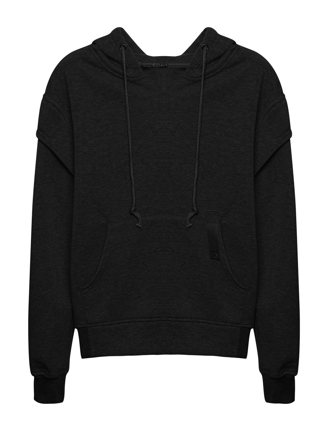 Women Kangaroo Pocket Embroidered Letters Drawstring Hoodie Black XS