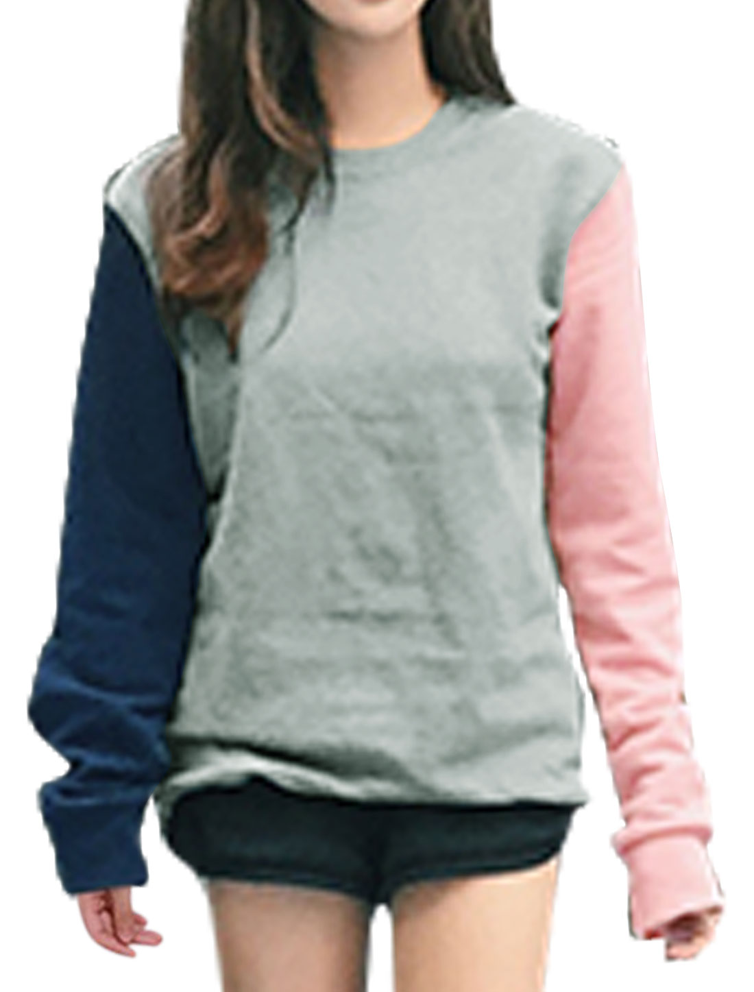 Women Long Sleeves Crew Neck Color Block Sweatshirt Gray S