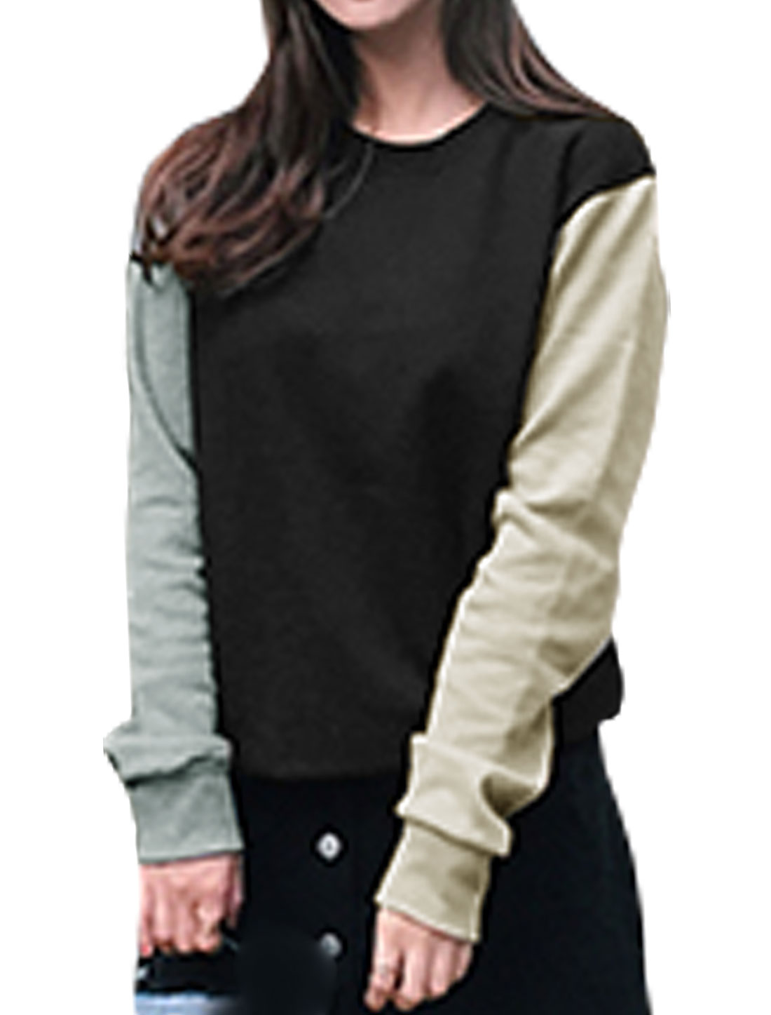 Women Long Sleeves Crew Neck Color Block Sweatshirt Black S