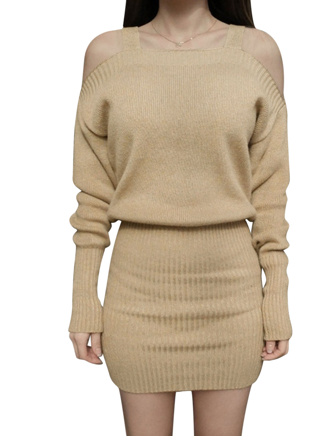 Woman Cut Out Shoulder Batwing Sleeves Bodycon Knitted Dress Beige S