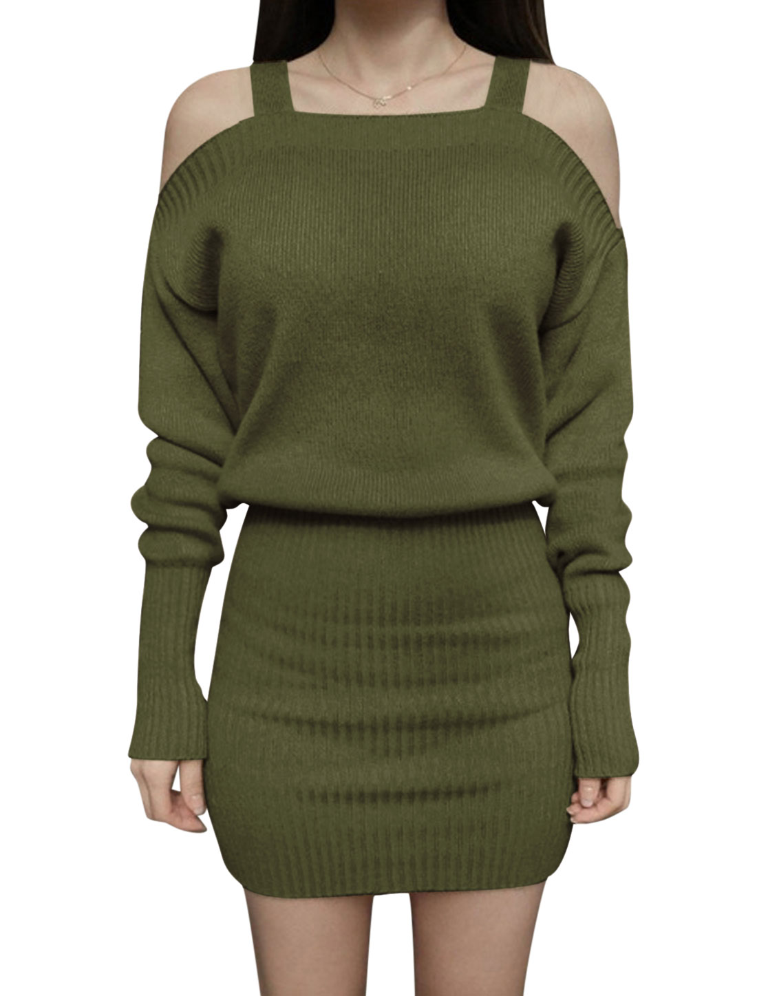 Woman Cut Out Shoulder Batwing Sleeves Bodycon Knitted Dress Green S