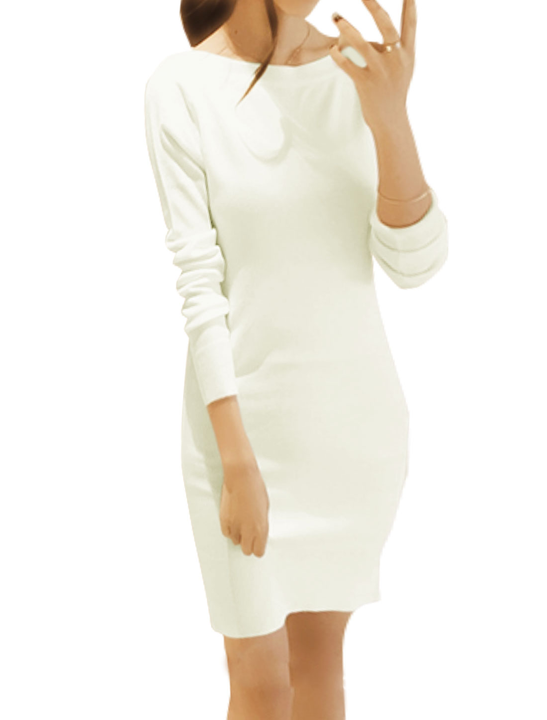 Women Boat Neck Long Sleeves Knitted Mini Sheath Dress White XS