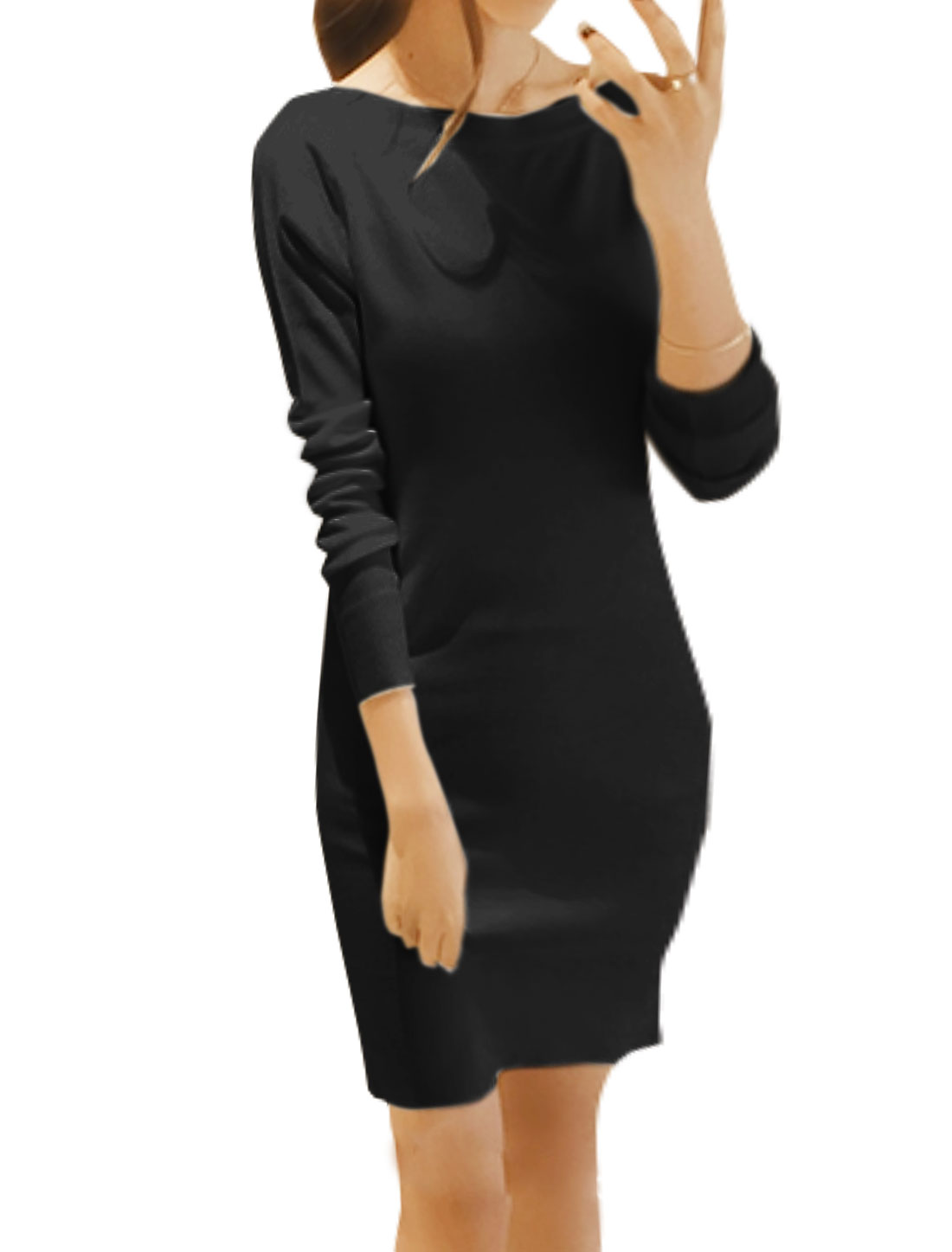Women Boat Neck Long Sleeves Knitted Mini Sheath Dress Black XS
