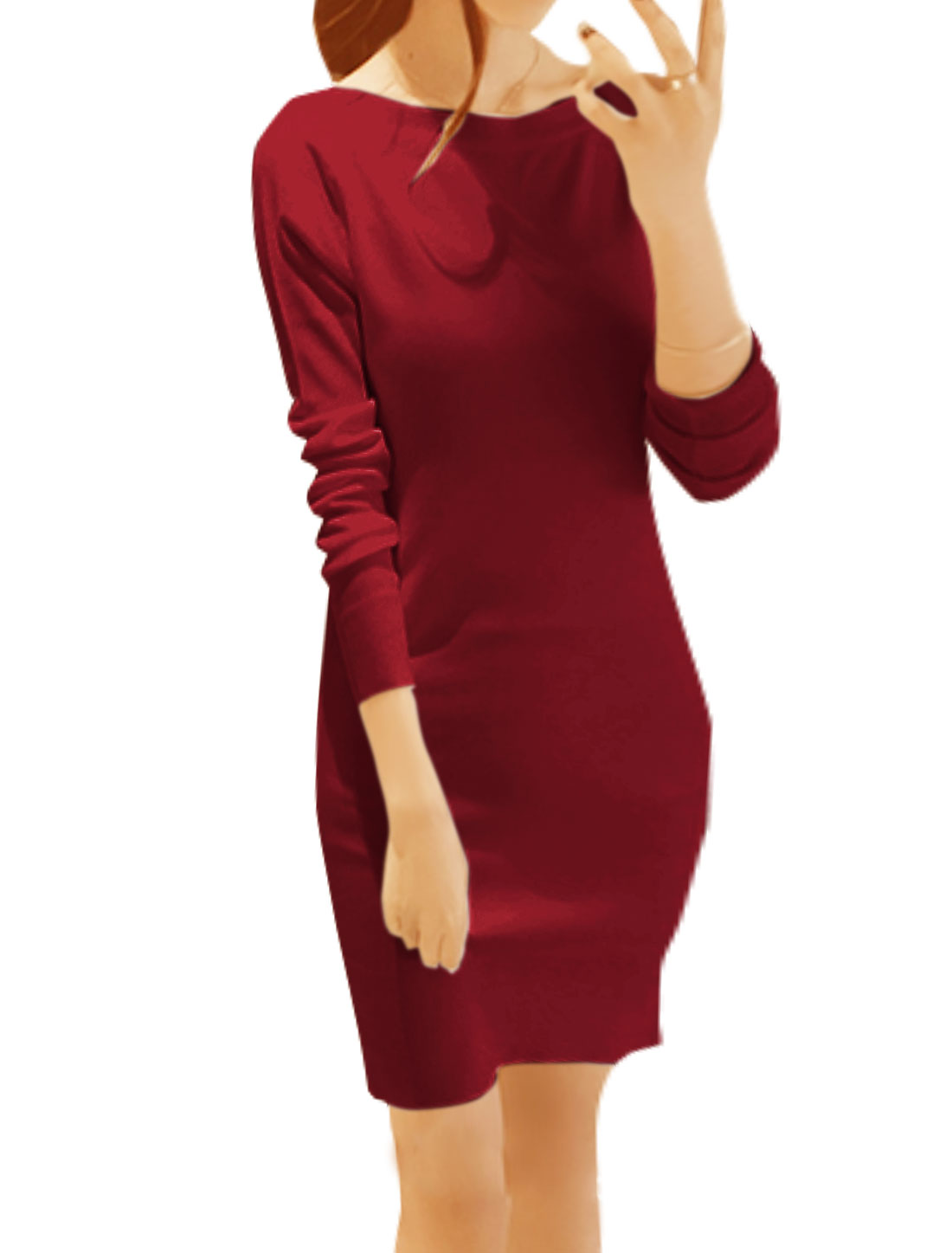 Women Boat Neck Long Sleeves Knitted Mini Sheath Dress Red XS