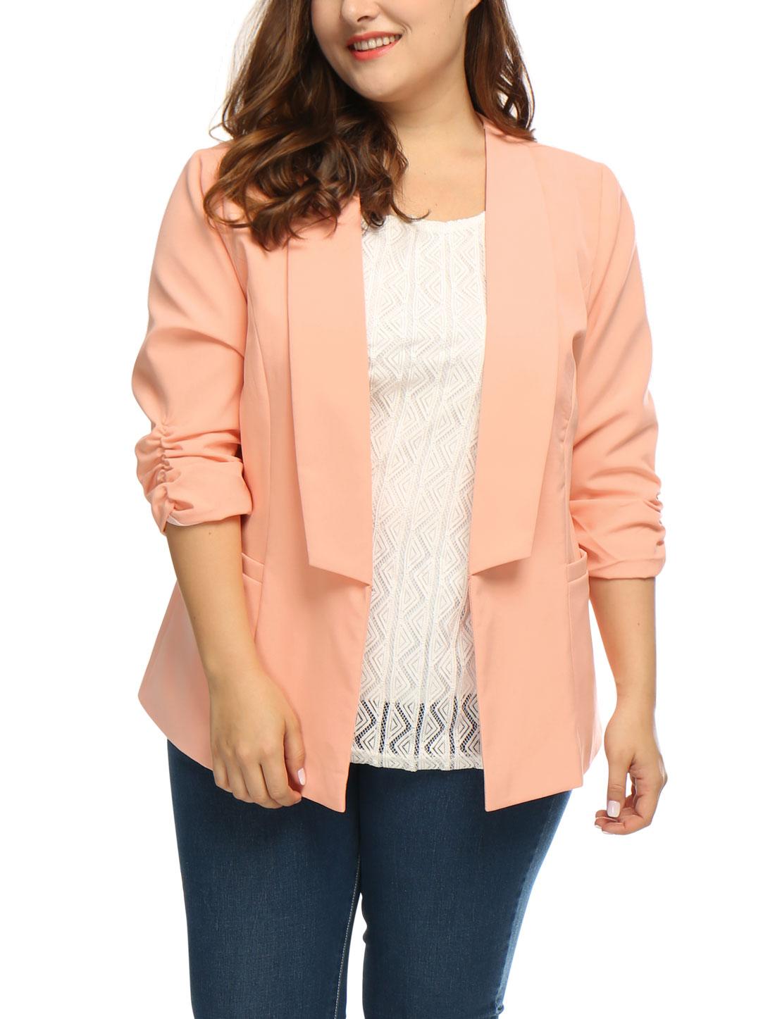 Women Plus Size 3/4 Sleeves Ruched Cuffs Blazer Pink 2X
