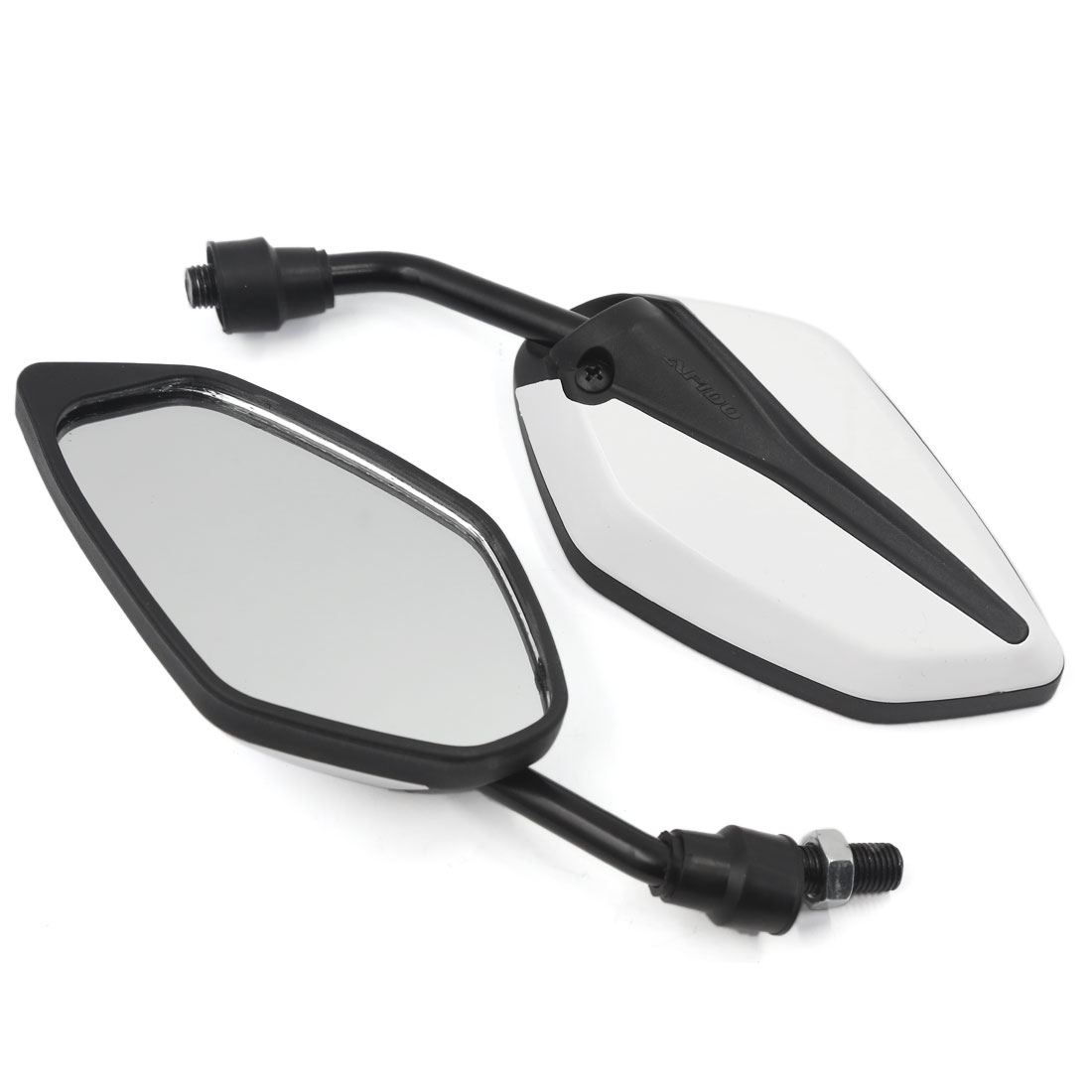Universal Motorcycle Chopper Cruiser Rearview Side Mirrors 10mm White Black 2 Pcs
