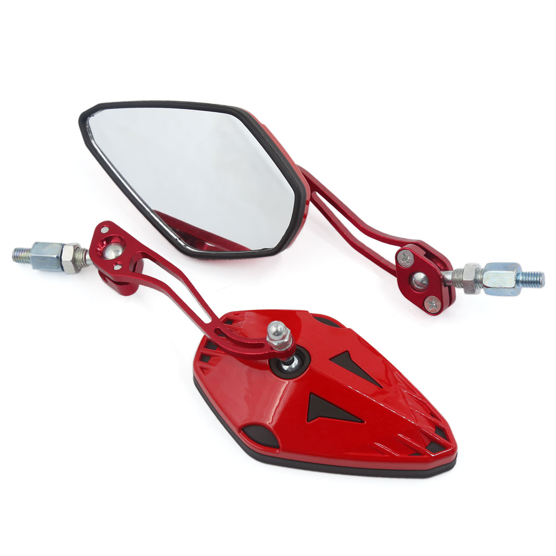 Universal Motorcycle 8mm 10mm Thread Adjustable Rearview Side Mirrors Red Pair