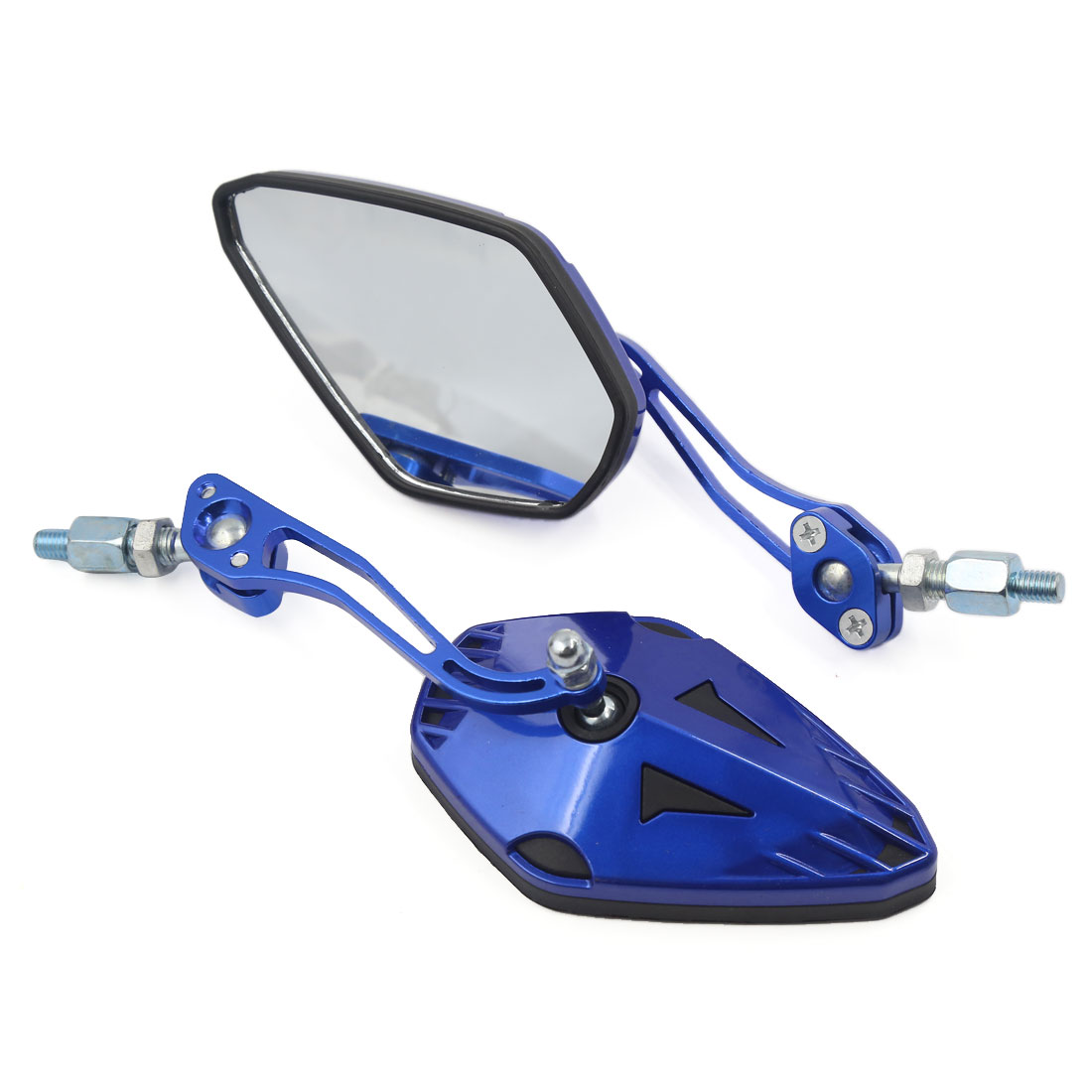 2 Pcs 360 Degree Rotatable Pentagon Motorcycle Rear View Mirrors 8mm 10mm Blue