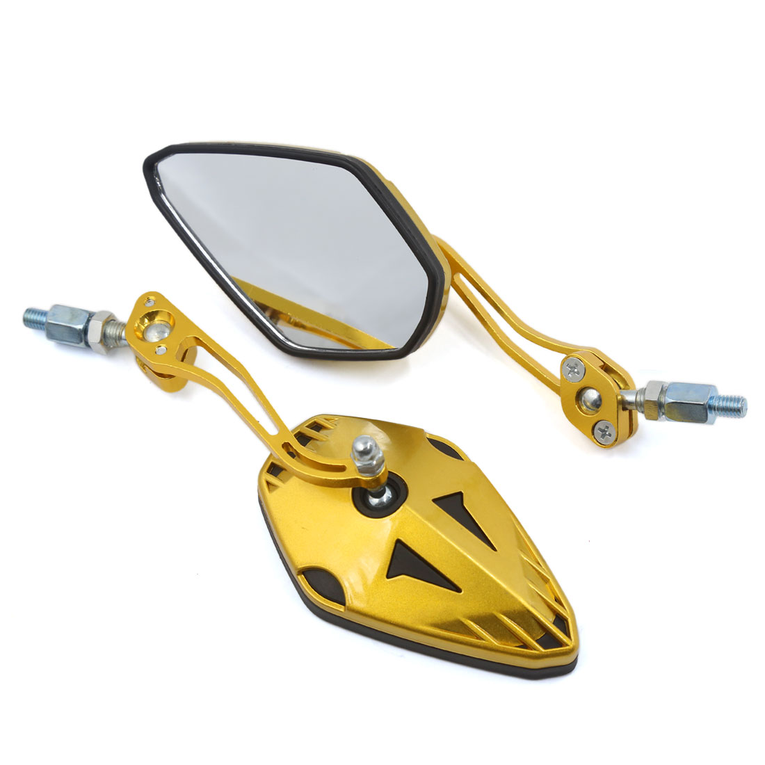 Gold Tone Shell Aluminum Alloy Stem Motorcycle Reaview Side Mirror 8mm 10mm Pair
