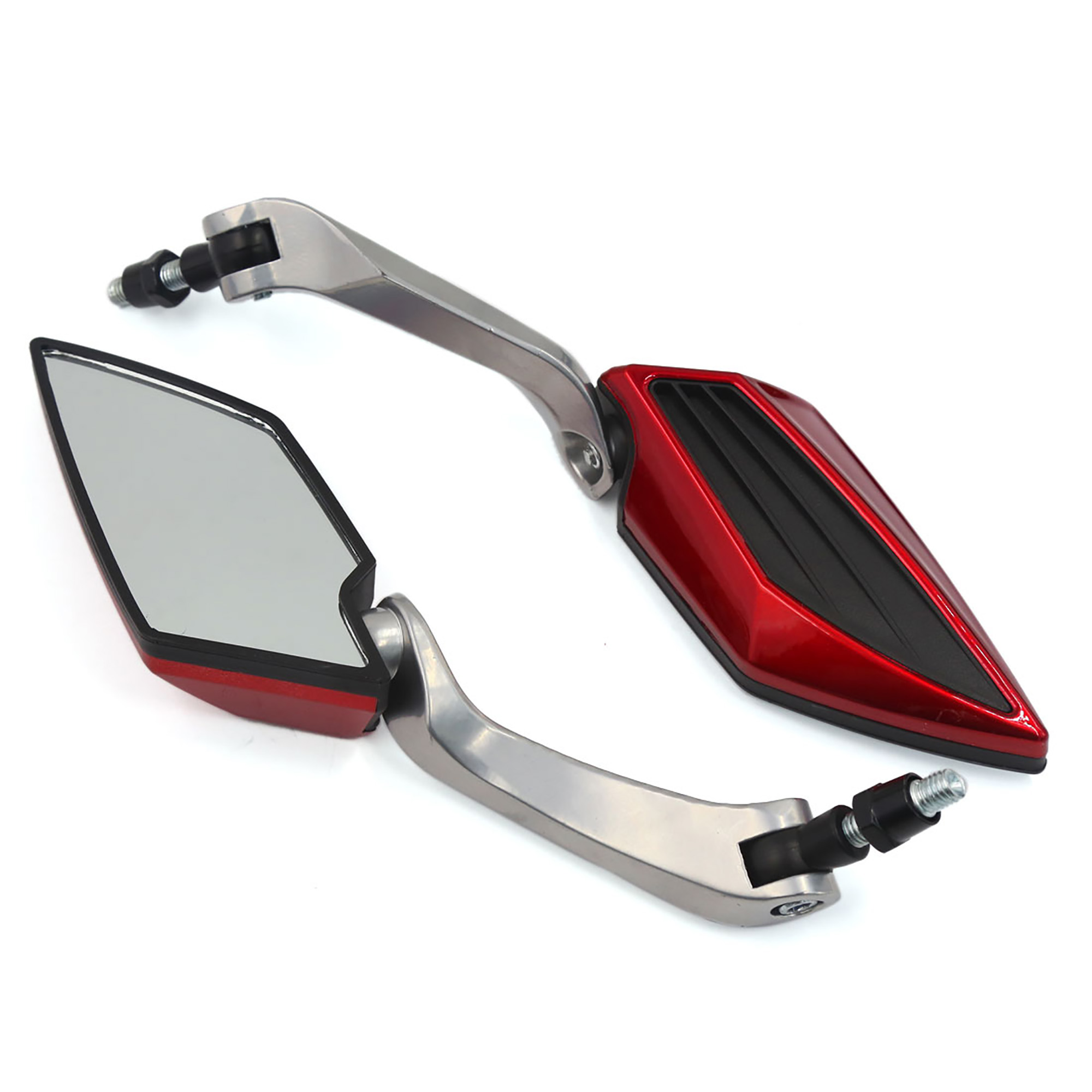 Pair Universal Motorcycle Red Black Frame Rearview Side Mirror 8mm 10mm Thread
