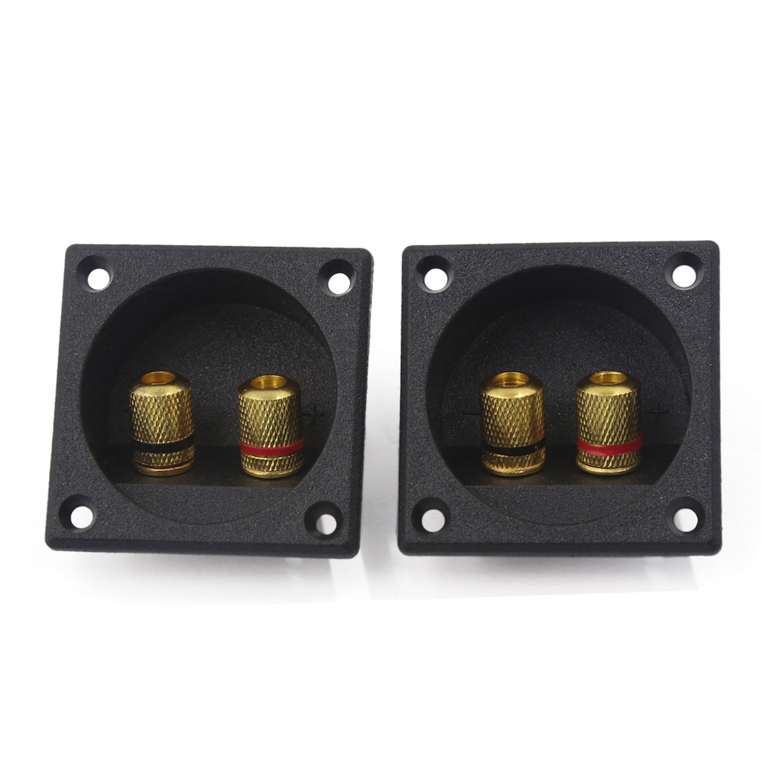 2PCS Square Audio Speaker Spring Binding Post Daul Terminal Box Connector Board