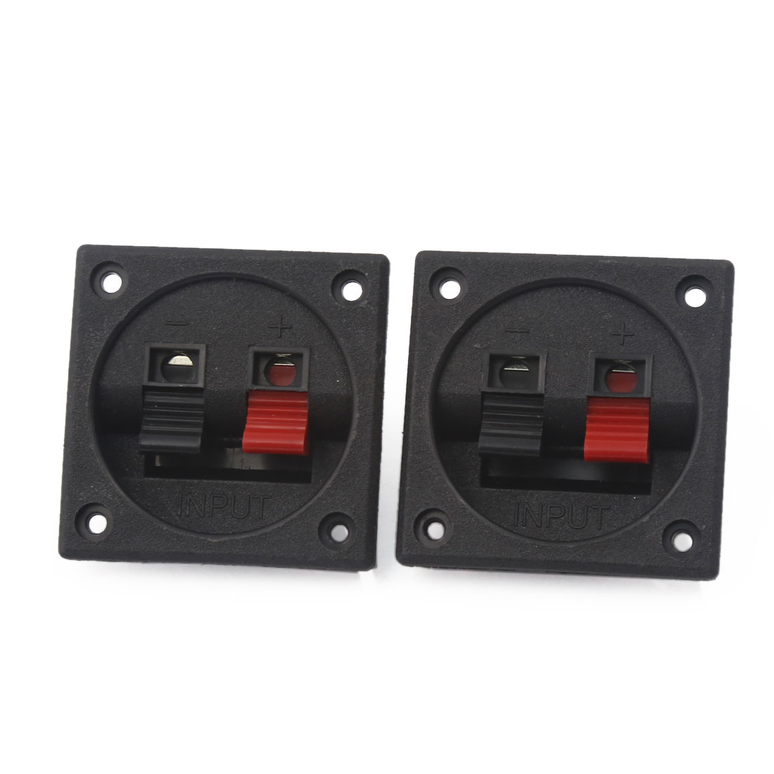 2pcs 56mm x 56mm 2 Positions Push Type Spring Load Audio Speaker Terminals Board