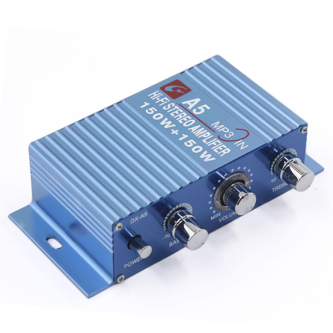 150W + 150W Blue Aluminum Alloy Mini Hi-Fi Car Stereo Audio Power Amplifier 85dB