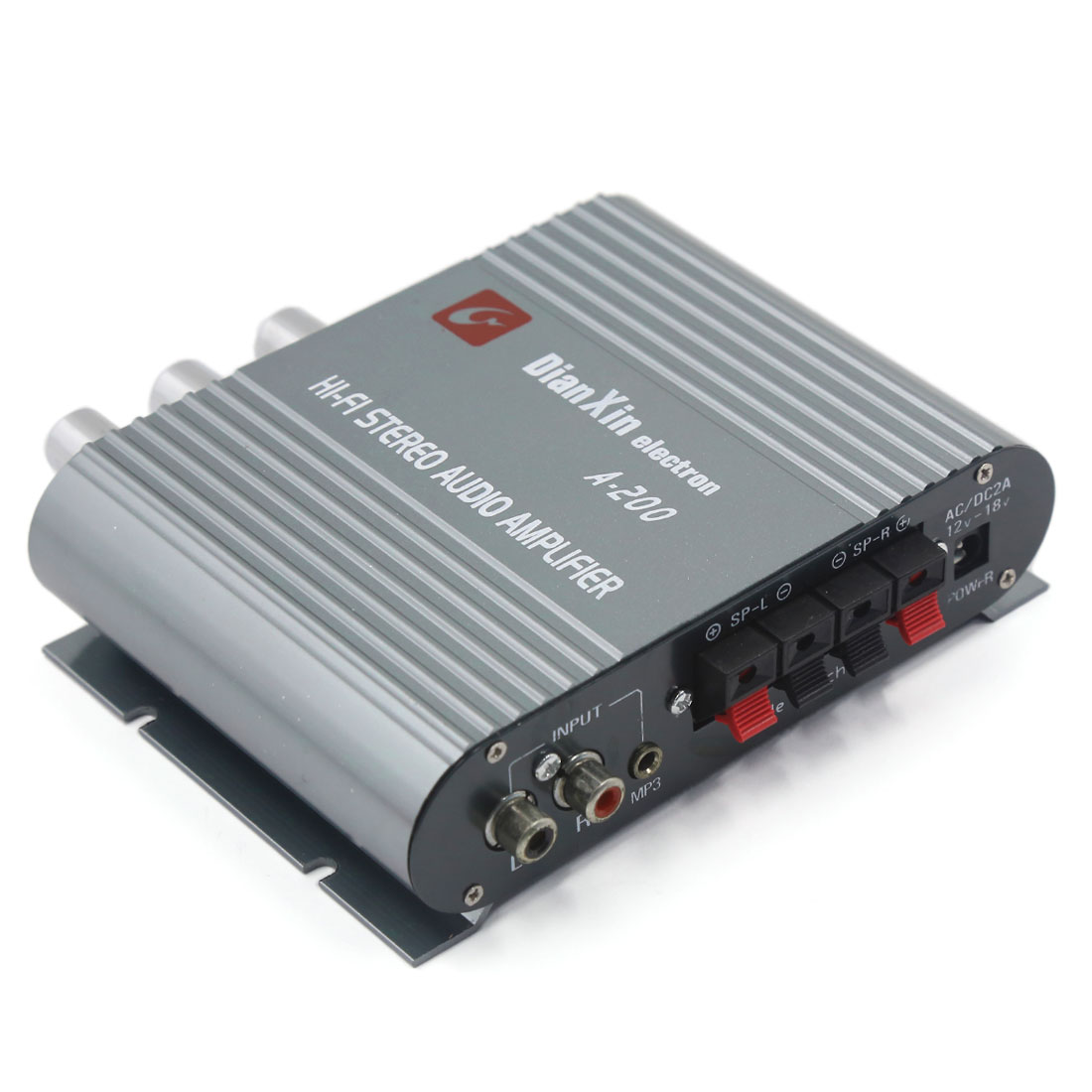 Gray Mini Hi-fi 200W Stereo Audio Power Amplifier for Car Auto Motorcycle
