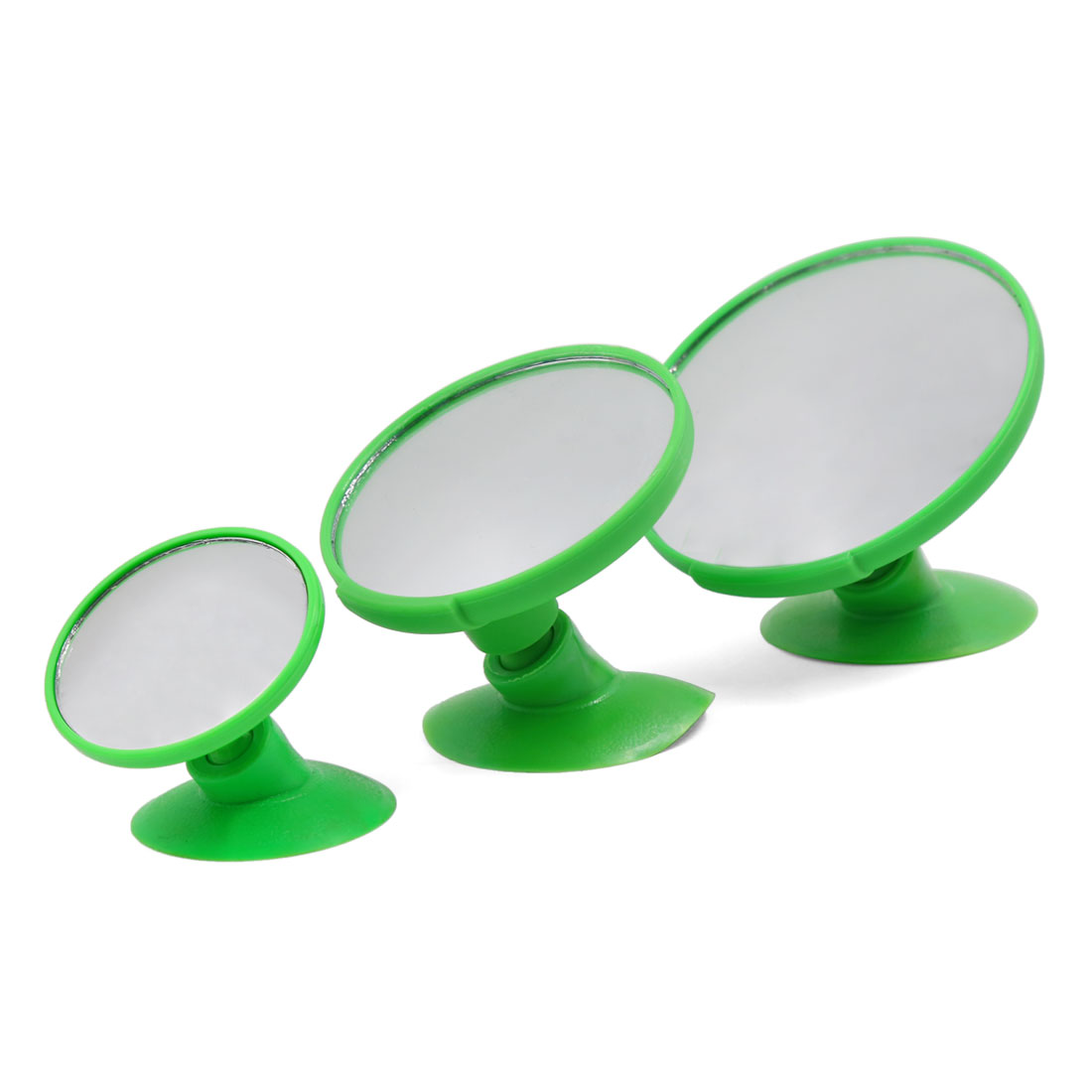 Universal Car Green Shell Wide Angle Convex Blind Spot Rearview Mirror 3 Pcs