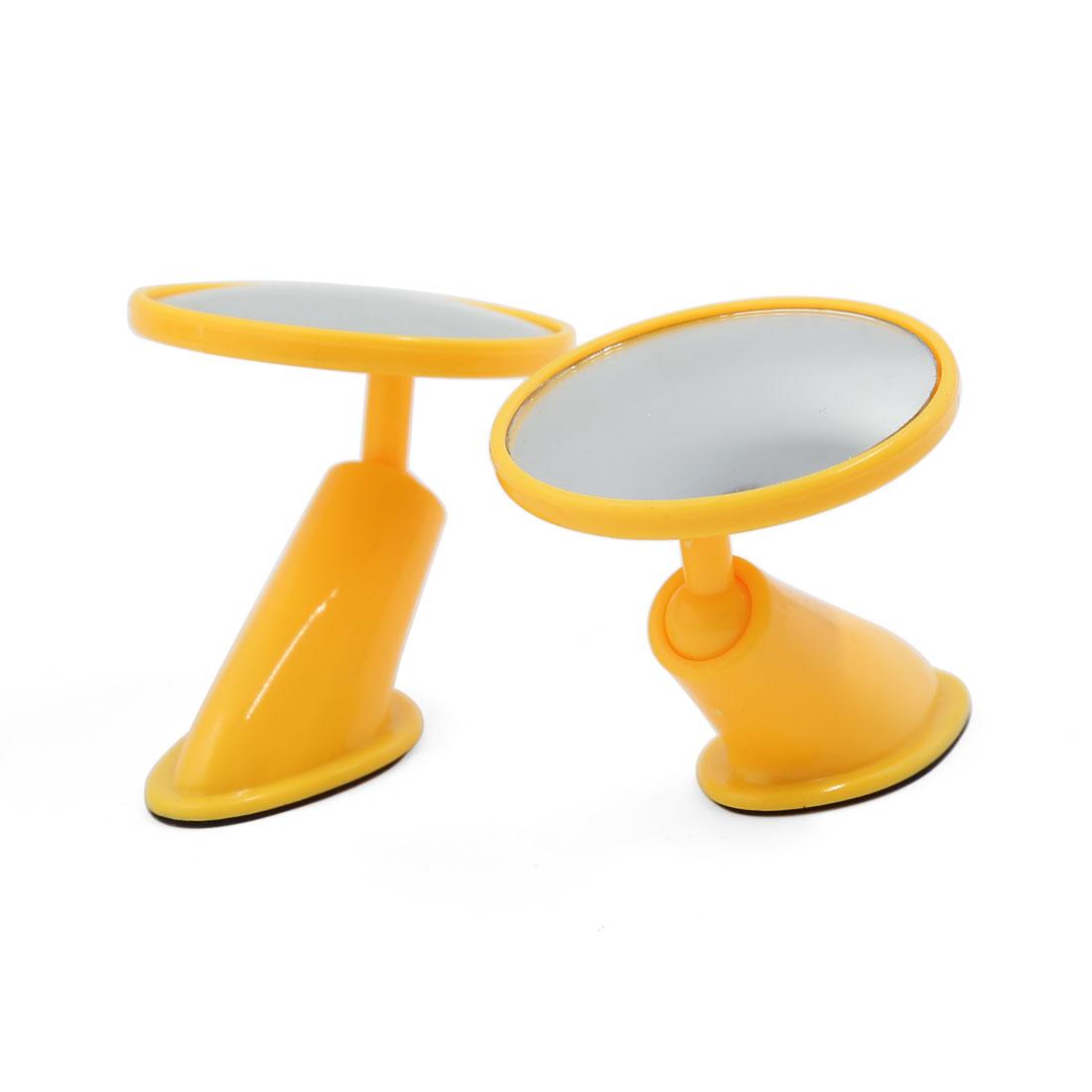 Universal Car Yellow Frame Adhesive Convex Blind Spot Rear View Mirror 2 Pcs
