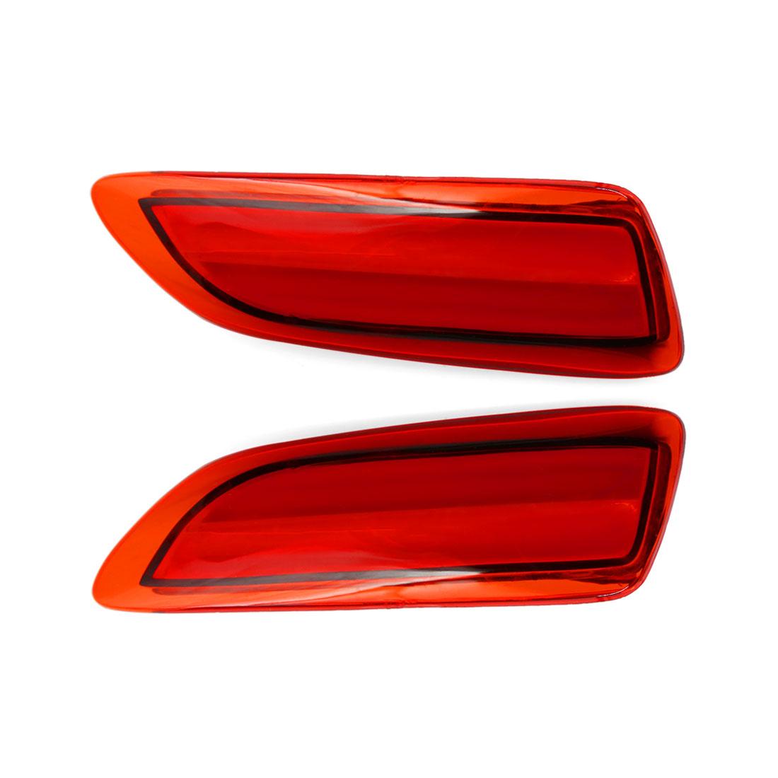 2 Pcs Red Lens Car Rear Bumper Reflector LED Backup Brake Light for Carora 2011