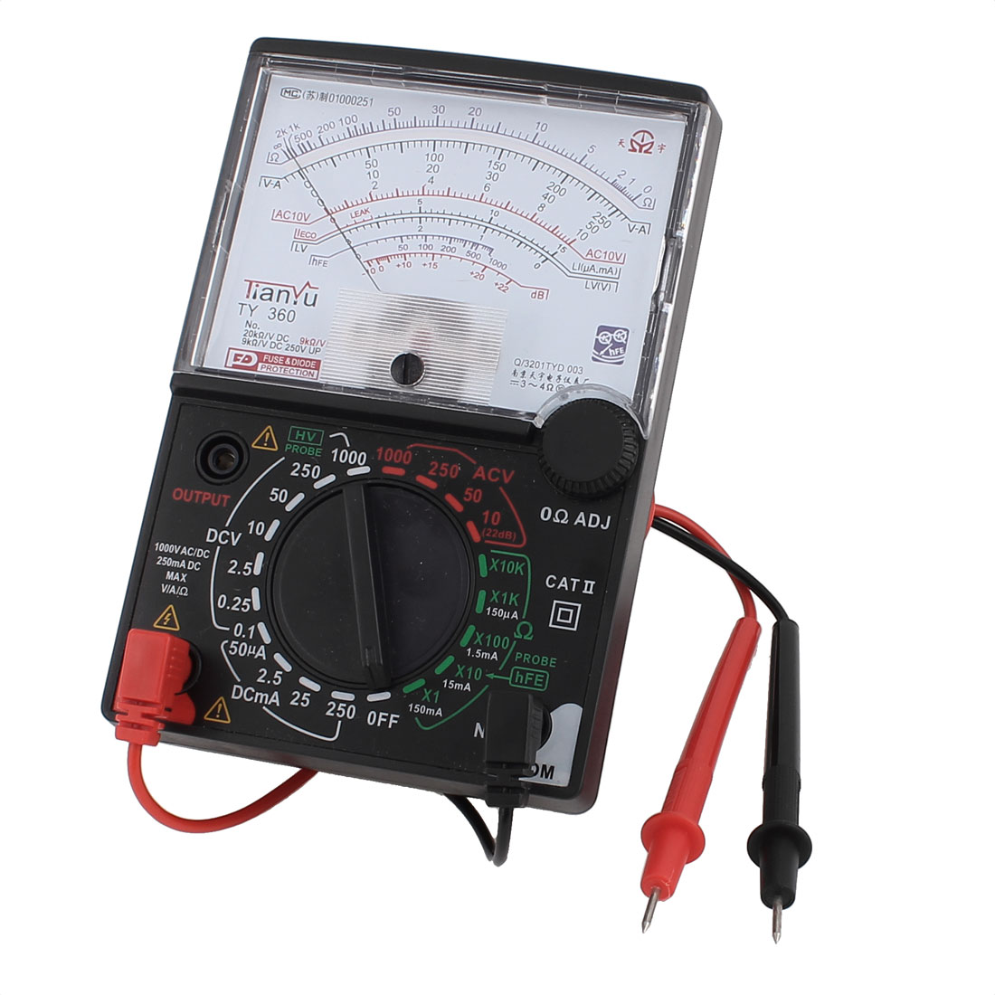 DC AC Voltage Current Resistance Test Analogue Meter Multimeter Multitester