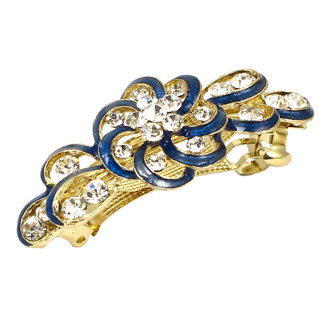Lady Plastic Rhinestone Decor Flower Design French Barrette Hair Clip Gold Tone Light Blue