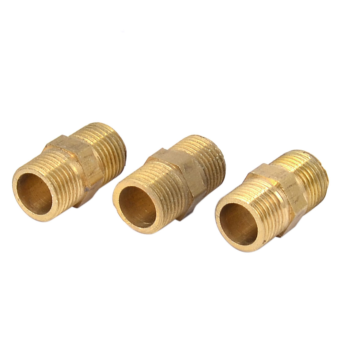1/8BSP to 1/8BSP Male Thread Air Water Pipe Fitting Hex Nipple Brass Tone 3PCS
