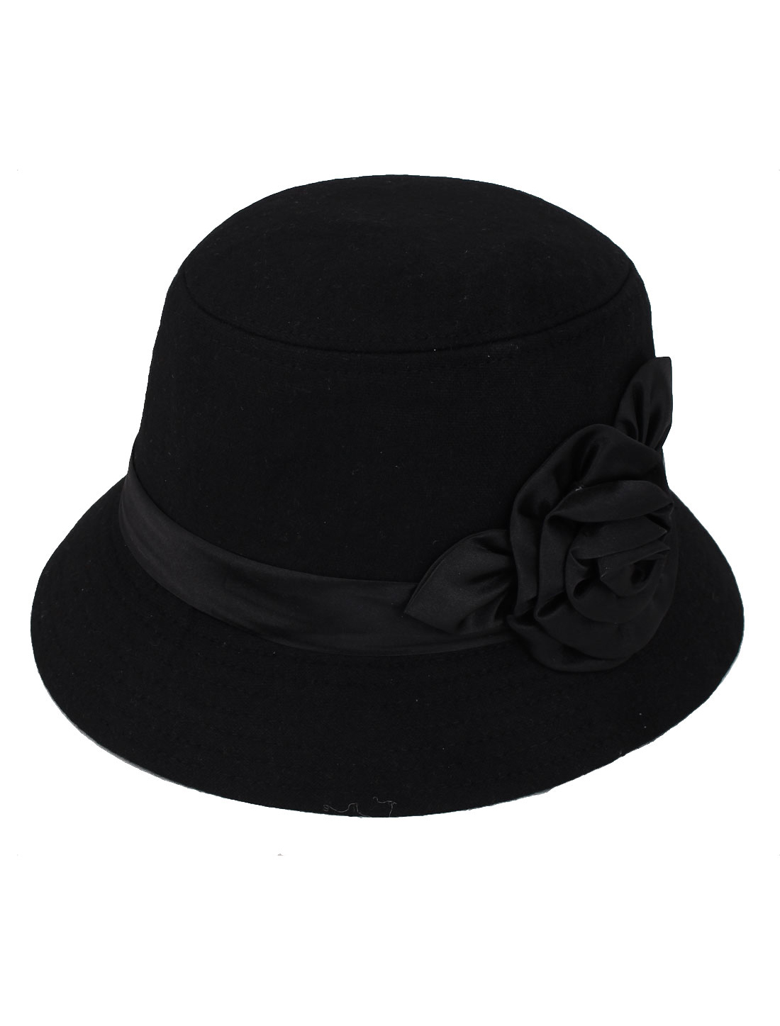 Woman Lady Flower Decor Travel Fedora Casual Hat Top Sun Cap Black
