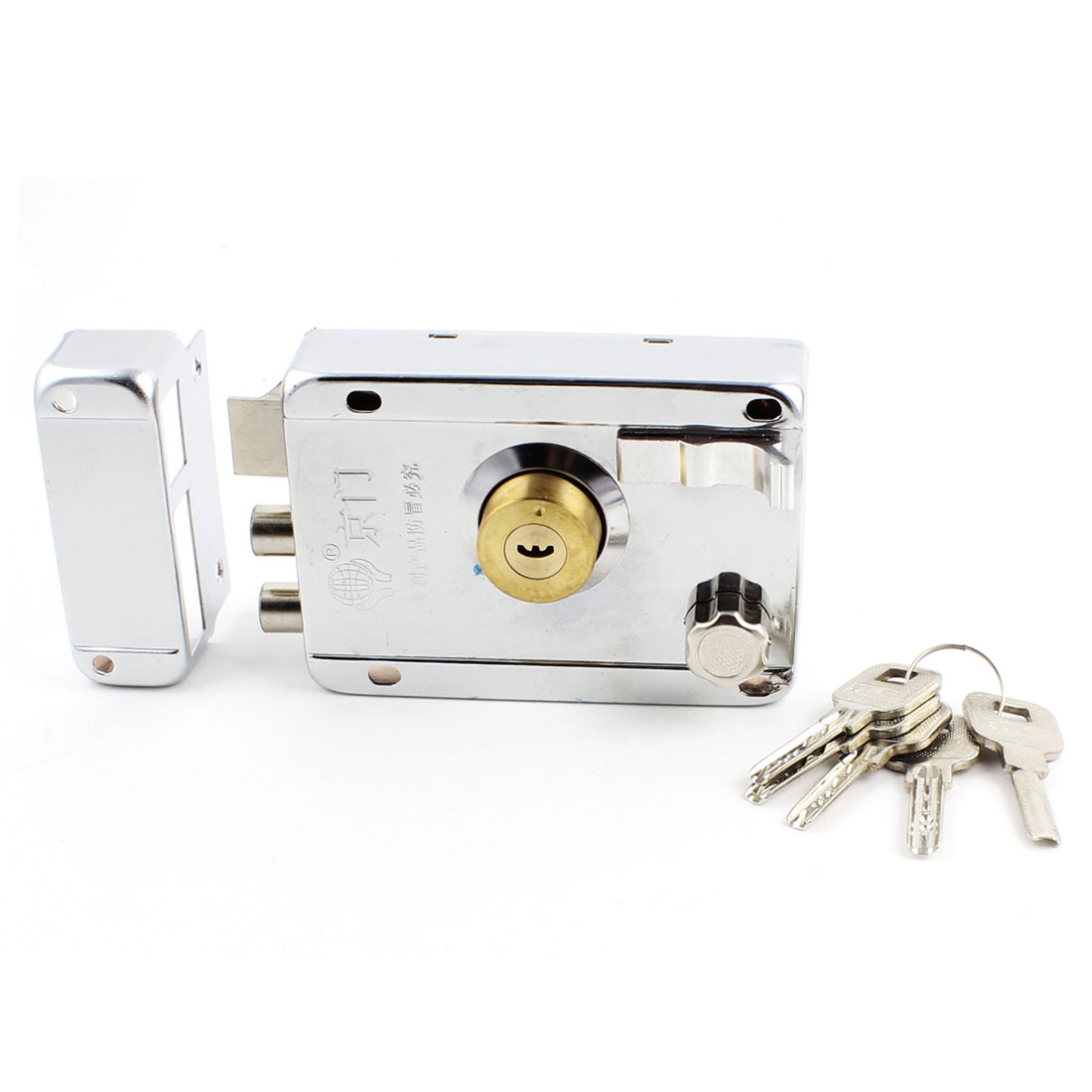 Home Dormitory Single Tongue Bolt Door Locking Latch Lock w 5 Keys