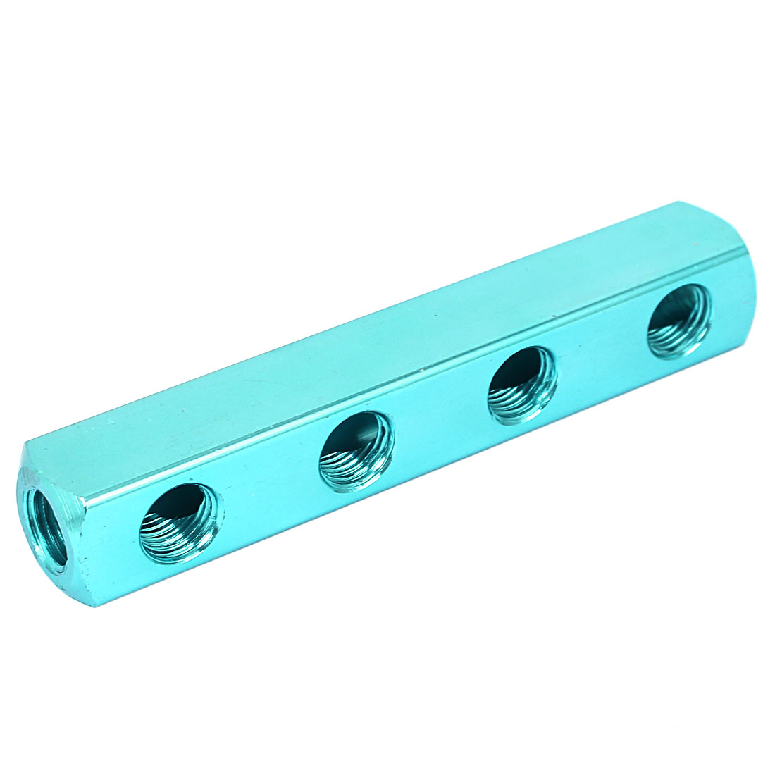 Aluminum Quick Connect 4 Outlet Ways 8 Ports Air Manifold Splitter Teal Blue