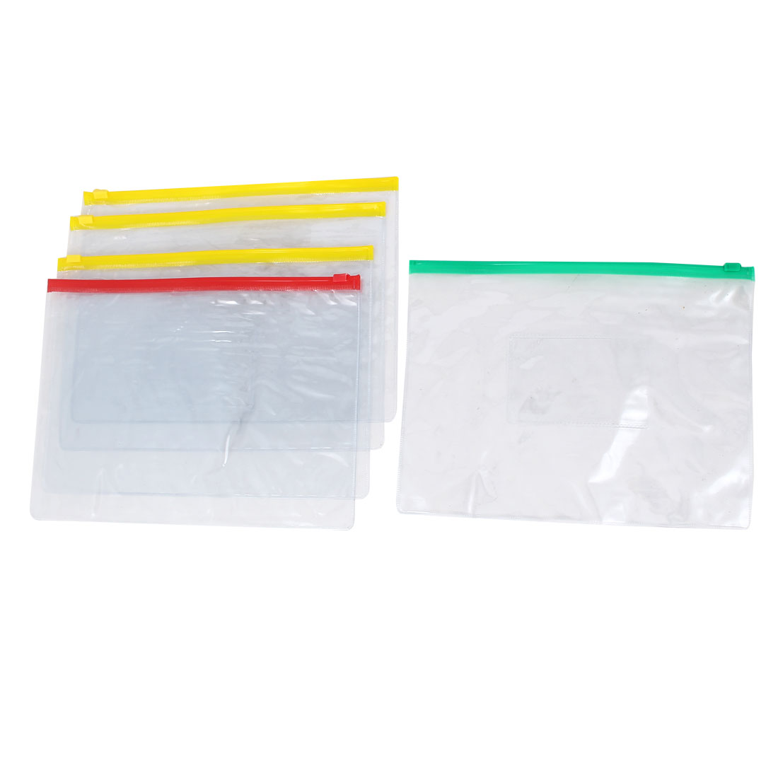 A5 Paper Size Slider Zipper Closure Folders Files Holder Bag 5PCS