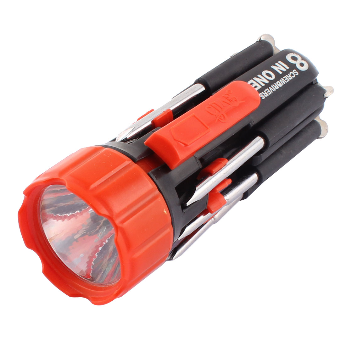 Multi Screwdriver Phillips Slotted Round Bit LED Flashlight Torch