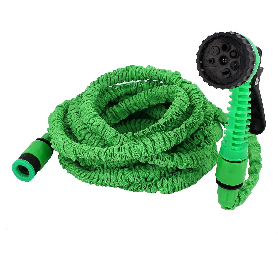 Garden Black Green Nylon Stretchy Hose Water Trigger Gun Sprayer 5.5M 18Ft Long