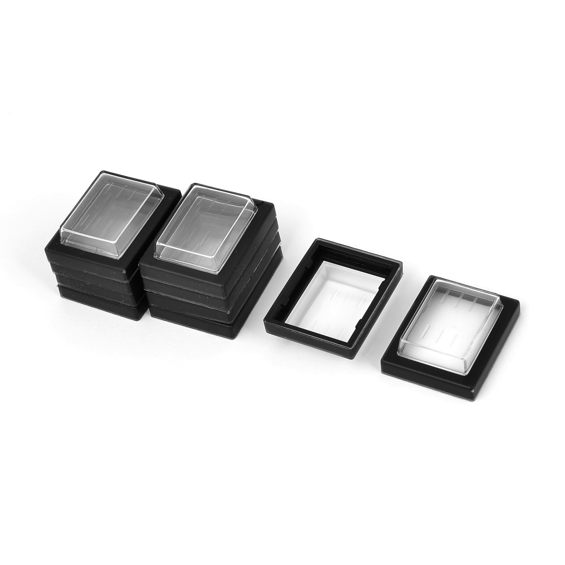 Switch Splash Proof Cover Hat Frame 32mm x 30mm x 11mm Black Clear 10pcs