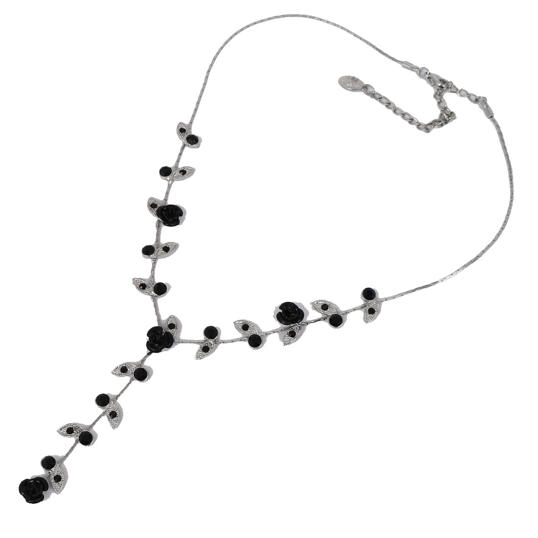 Fashion Jewelry Rose Flower Leaf Crystal Pendant Lobster Clasp Necklace Black