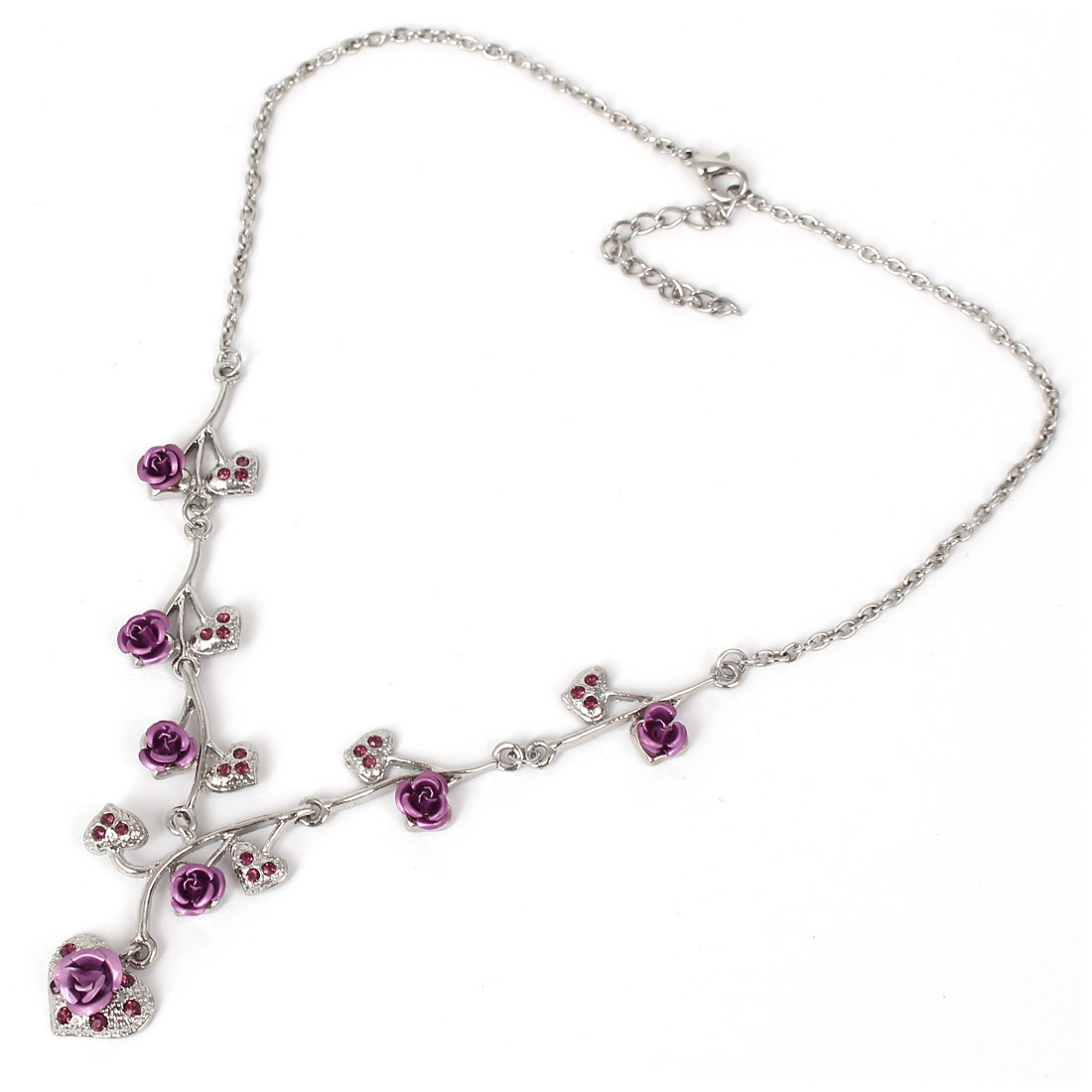 Girl Lady Fashion Jewelry Alloy Rose Flower Crystal Heart Pendant Necklace Purple