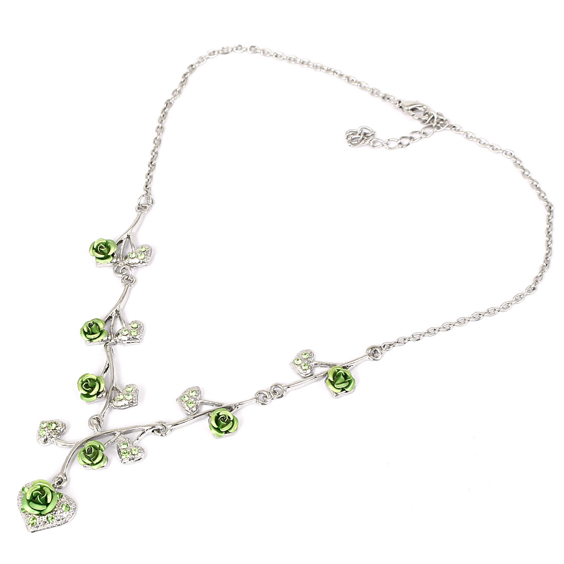 Girl Lady Fashion Jewelry Rose Flower Crystal Heart Pendant Necklace Light Green
