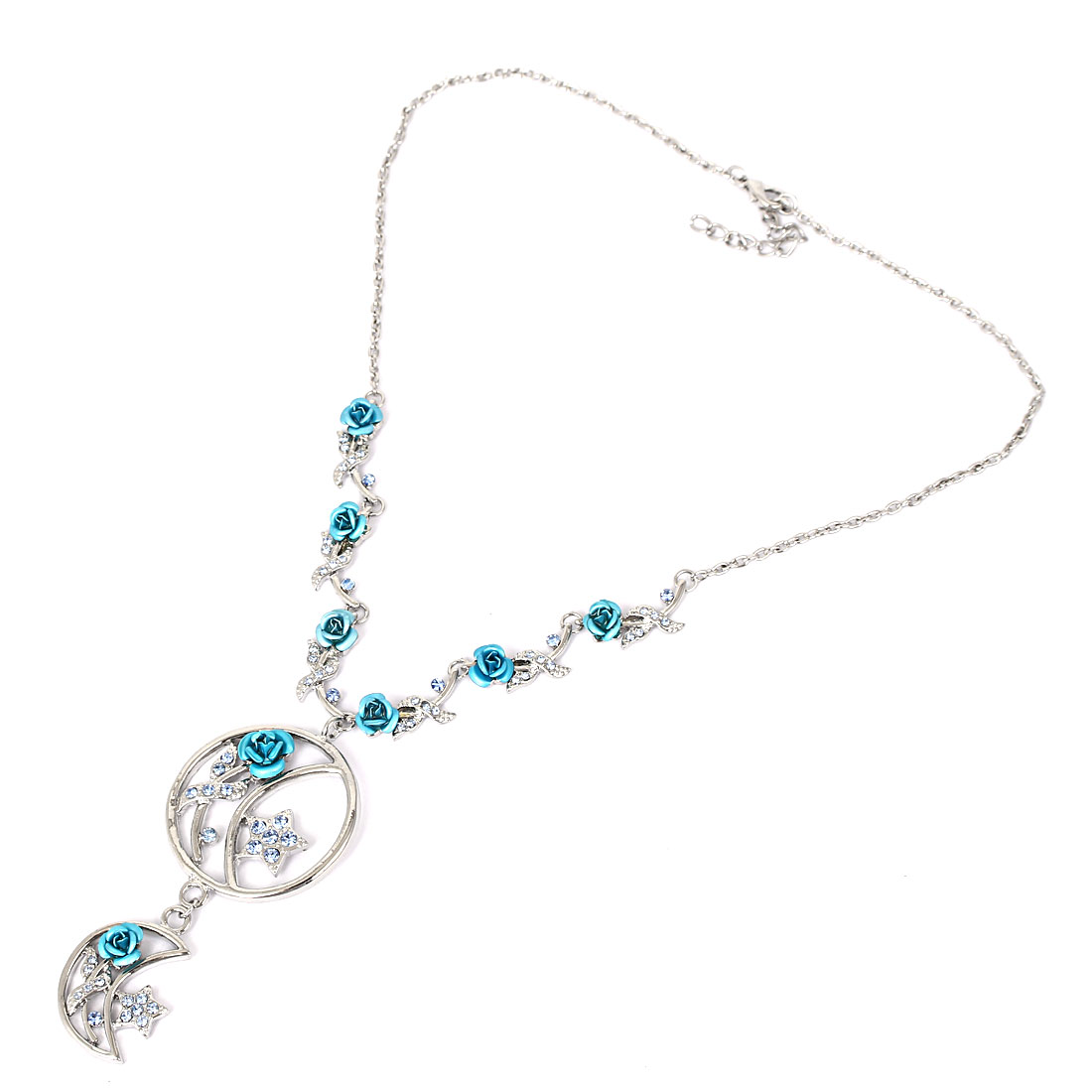 Lady Fashion Jewelry Moon Star Rose Flower Crystal Pendant Necklace Light Blue