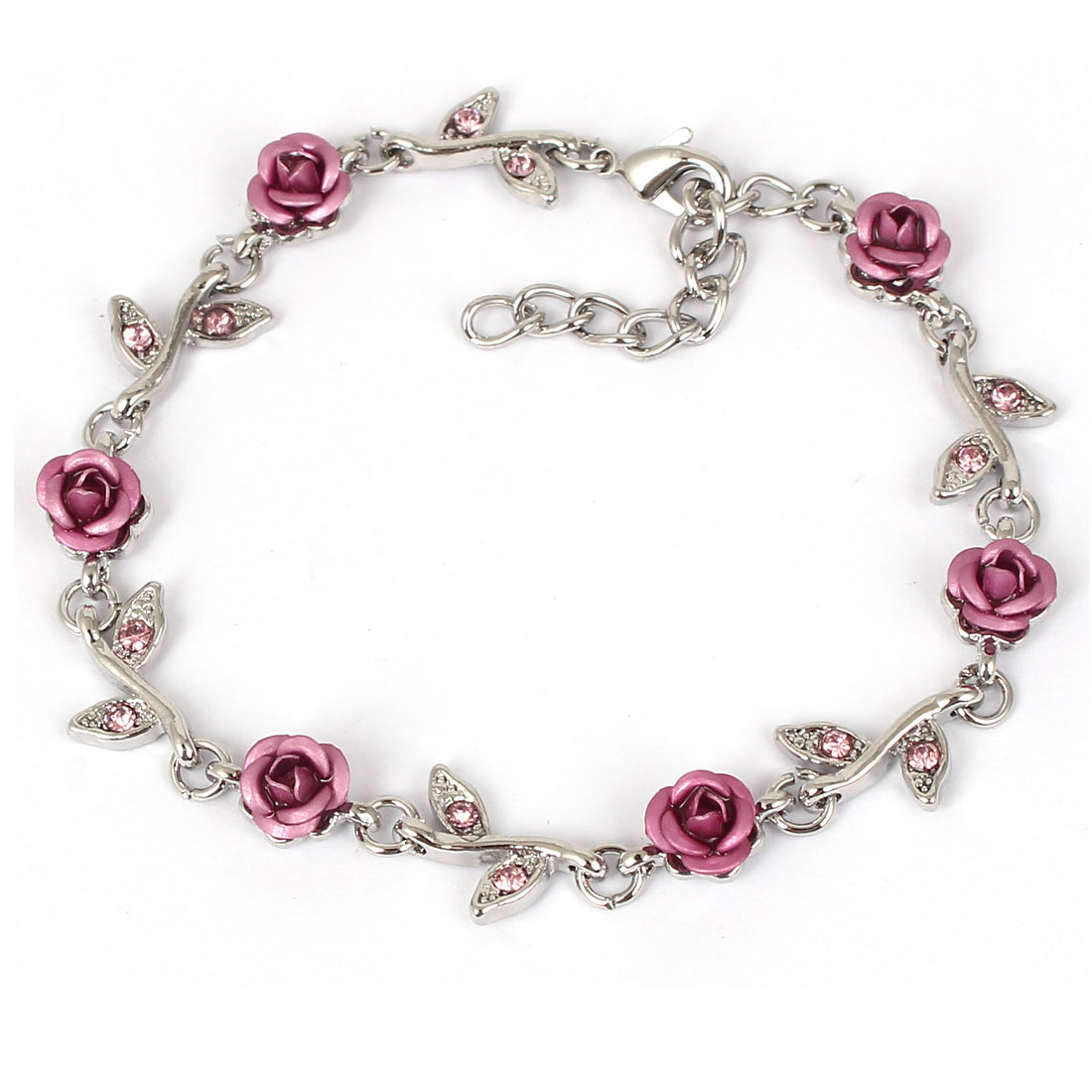 Fashion Jewelry Rose Flower Crystal Decor Alloy Chain Bracelet Silver Tone Pink