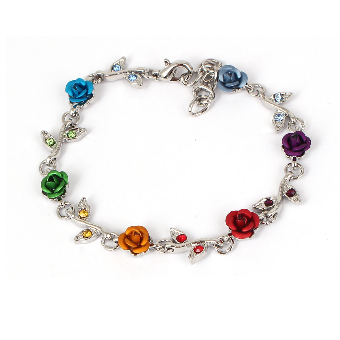 Girls Lady Fashion Jewelry Rose Flower Crystal Decor Chain Bracelet Multicolor