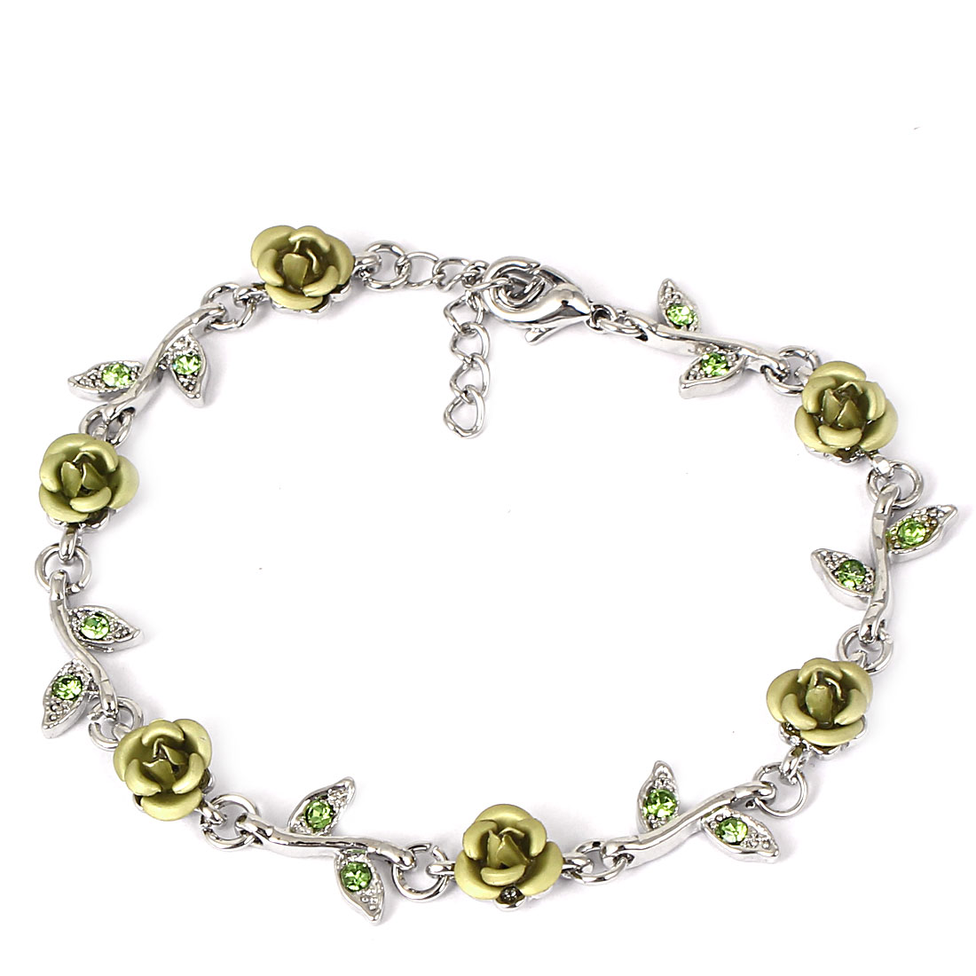 Lady Fashion Jewelry Rose Flower Crystal Decor Bracelet Silver Tone Light Green