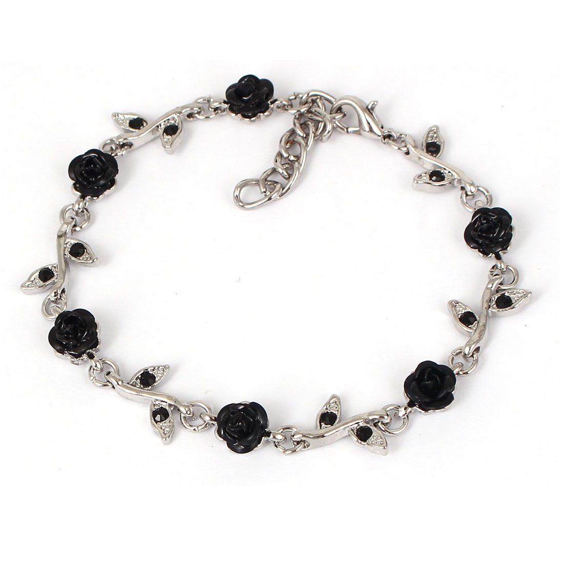 Fashion Jewelry Rose Flower Crystal Decor Alloy Chain Bracelet Silver Tone Black