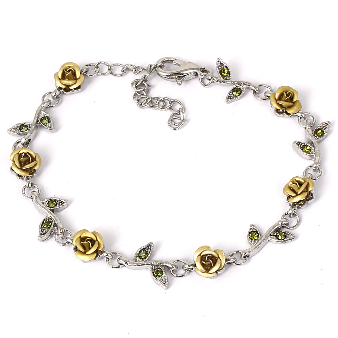 Fashion Jewelry Rose Flower Crystal Decor Alloy Chain Bracelet Silver Tone Beige