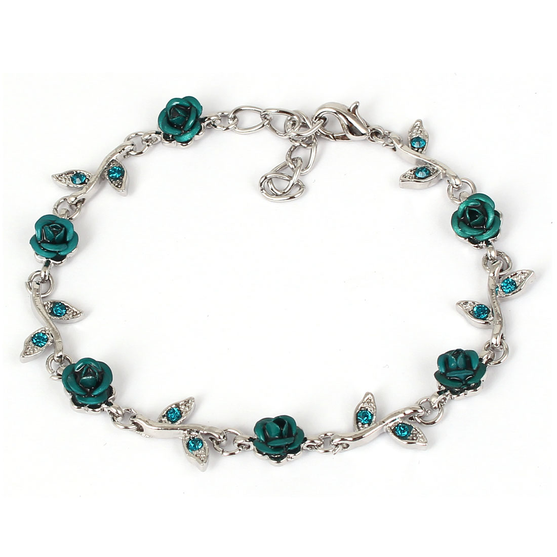 Lady Fashion Jewelry Rose Flower Crystal Decor Bracelet Silver Tone Teal Green