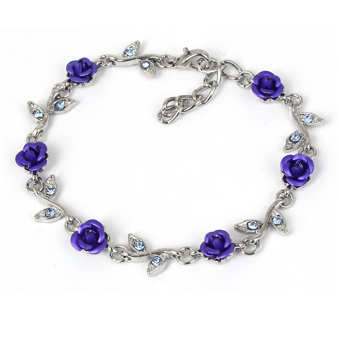 Lady Fashion Jewelry Rose Flower Crystal Decor Bracelet Silver Tone Royal Blue